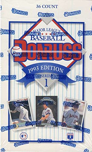 1993 Donruss Baseball Cards Series 1 Unopened Hobby Box (36 packs/box, 15 cards/pack) - Randomly inserted Foil Diamond King Inserts, Elite Series Cards, and more!)