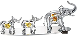 Matashi Silver Plated Elephants Ornament with Crystal Tabletop Home Decor Office Desk Showpiece - Gift for Mother's Day Wedding Anniversary Christmas Birthday Housewarming Present