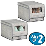 mDesign Fabric Storage Box for Shoes, Boots, Pumps, Sandals, Flats with a Clear Window and Hinged Lid for Closet Storage – Pack of 2, Large, Gray