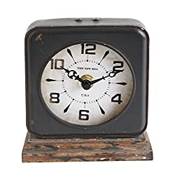 Creative Co-Op Pewter Clock with Distressed Ivory Face
