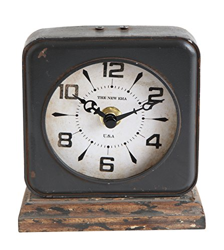 - Creative Co-Op DA9257 Pewter Clock with Distressed Ivory Face