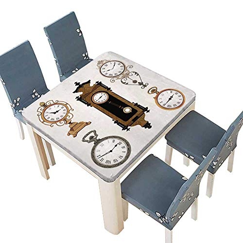 PINAFORE Solid Tablecloth Vintage Clocks Easy Care Spillproof 49 x 49 INCH (Elastic Edge) ()