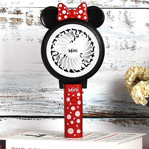 (Creative Folding Portable Cartoon Cute Mickey USB Light Fan with Student Mini Handheld Fan with Battery Rechargeable@A)