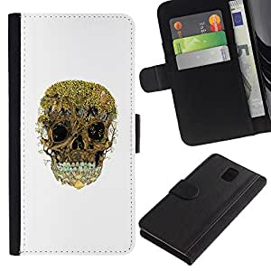 ZCell / Samsung Galaxy Note 3 III / Trees Forest Skull Nature Deep White / Caso Shell Armor Funda Case Cover Wallet / Árboles Bosque cr&aa