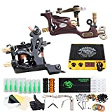 Dragonhawk Complete Tattoo Kit 2 Pro Machines Rotary Gun Power Supply Needles Foot Pedal Grips Tips 2-1YMX