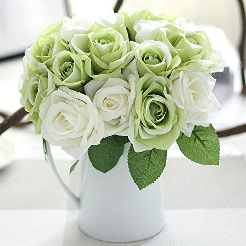 Flower Arrangements Green (Artificial Flowers, Fake Flowers Silk Plastic Artificial Roses 9 Heads Bridal Wedding Bouquet for Home Garden Party Wedding Decoration (Green White))