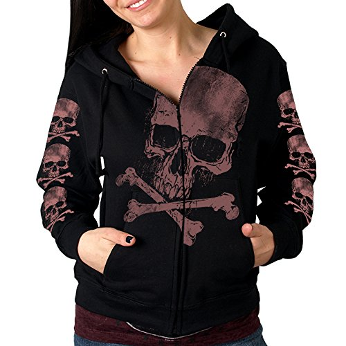 Hot Leathers Women's Skull and Crossbones Jumbo Print Hooded Sweatshirt (Black, Large)