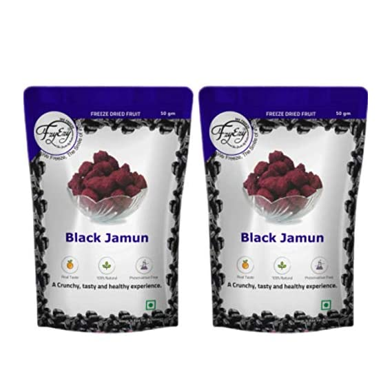 FZYEZY Natural Freeze Dried Black Jamun Fruit for Kids and Adults | Pack of 2 - 50 gm Each | Travel Friendly Ready to