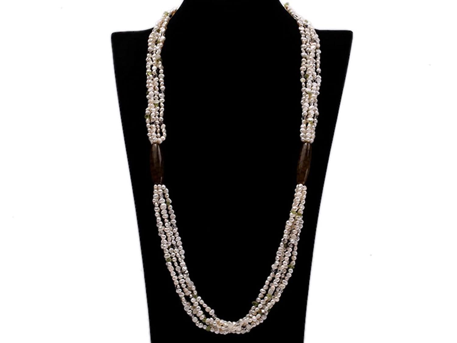 JYX 4-5mm Flat White Fresheater Pearl and Crystal Chips Opera Necklace