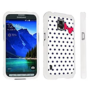 DuroCase ? Samsung Galaxy S5 Active SM-G870A Stylish Hard Case White - (Polka Dots Bow Navy)