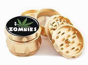 "I Weed Zombies Design Premium Grade Aluminum Tobacco,Herb Grinder -4Pcs Large (2.5"" Gold) # GLD-G50-82515-10"