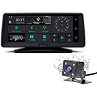 DDAUTO DDR8A Android GPS Navigation With DVR Car Camera DVR Rear View Dual Lens FHD 1080P Touch Screen Bluetooth WiFi FM, 6.86 Inch, Black(Upgrade version)
