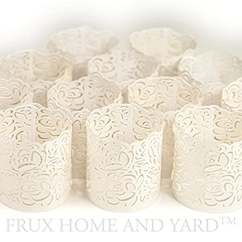 FLAMELESS TEA LIGHT VOTIVE WRAPS- 48 White laser cut decorative wraps for Frux Home and Yard Flickering LED Battery Tealight Candles (not (Remote Cylinder)