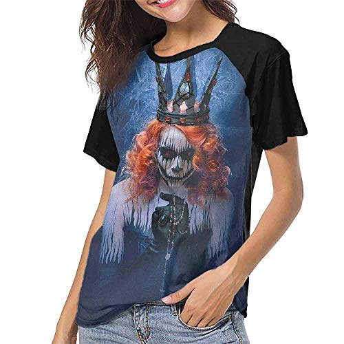Queen,O Neck T Shirt Female Tee S-XXL(This is for Size Medium) Queen of Death Scary Body Art Halloween Evil Face Bizarre Make Up Zombie,Girls Short Sleeve Tops]()