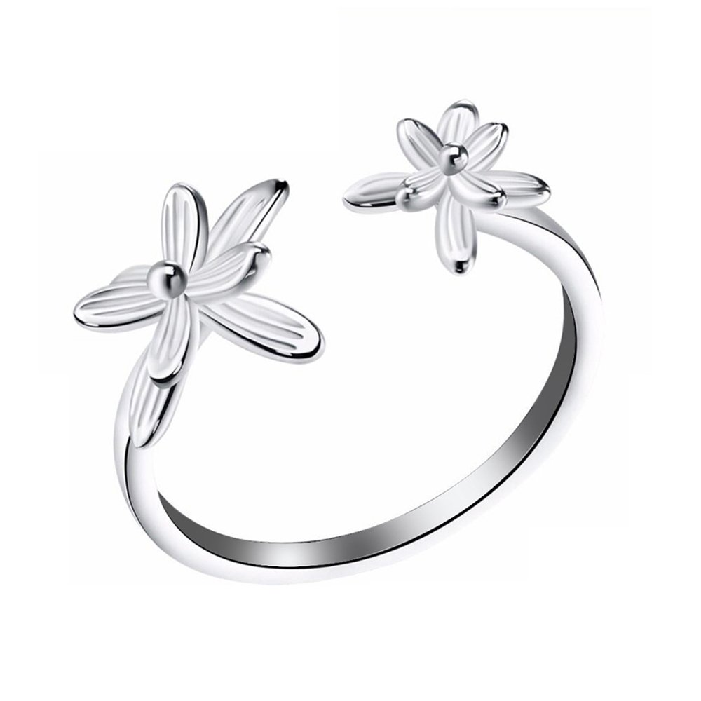 CYMO JEWELRY 925 Sterling Silver Ring Flower Open End Adjustable Rings