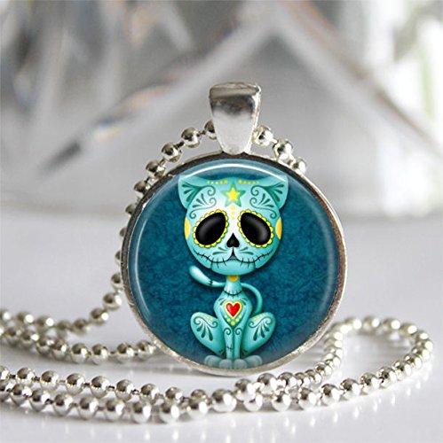 Day of the Dead Kitty Cat Silver Bezel Glass Tile Pendant Necklace, Dia de los Muertos, Sugar Skull (Sugar Skull Cat)