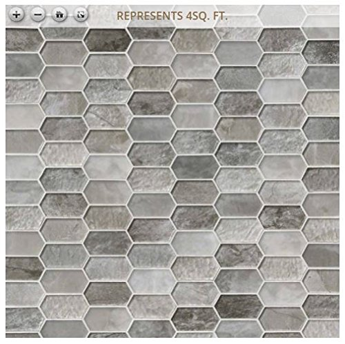 Savoy Picket Pattern 12 in. x 12 in. x 8 mm Glass Mesh-Mounted Mosaic Tile