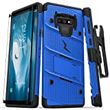 Zizo Bolt Series Galaxy Note 9 Case with Holster, Lanyard, Military Grade Drop Tested and Tempered Glass Screen Protector for Samsung Galaxy Note 9 Cover - Blue/Black