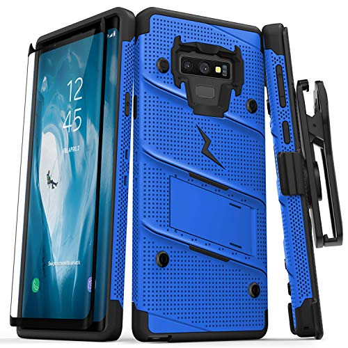 (Zizo Bolt Series Galaxy Note 9 Case with Holster, Lanyard, Military Grade Drop Tested and Tempered Glass Screen Protector for Samsung Galaxy Note 9 Cover - Blue/Black)