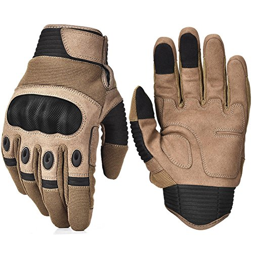 REEBOW TACTICAL Army Military Hard Knuckle Tactical Combat Full Finger Gloves, Large, Tan