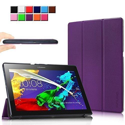 Infiland Lenovo Tab 2 A10-70 / Tab 2 A10-30 / Tab 3 10 Business Hülle Case, Ultra Dünn Tri-Fold Smart-Muschel PU Leder Schutzhülle für Lenovo Tab 2 A10-70 / Tab 2 A10-30 / Tab 3 10 Business 10,1 Zoll Tablet (mit Auto Schlaf / Wach Funktion)(Lila)