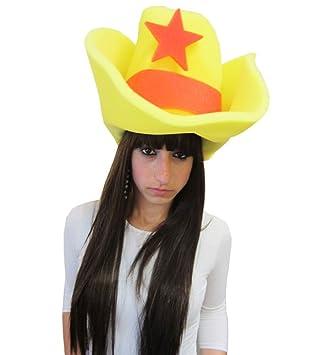 Yellow Giant Foam Western Cowboy Hat - Super Bright Giant Foam Western  Cowboy Hat In Yellow With Orange Star  Amazon.ca  Toys   Games 1818da5fa93