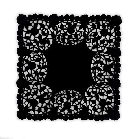 100 pack - Quality 8 inch Square Black Paper Lace Doily with Solid Center and Intricate Lace Edge Design | Ideal as Wedding and Party Invitation Envelopes | Table Centerpiece Decor | Napkin Holders | -