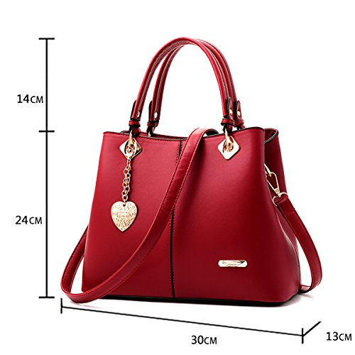 Work Bags Red Handbag Shoulder 2018 Lady Wine Leather Bag Pu Fashion Women Tisdaini PHzqv