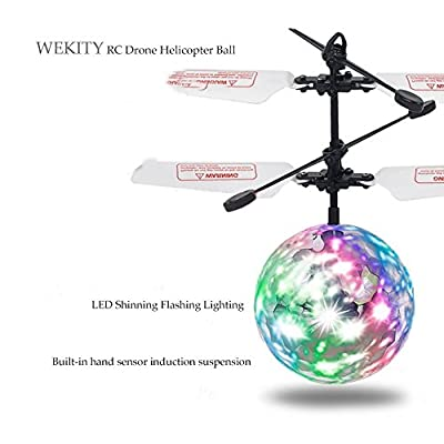 Wekity Flying Ball Toys, RC Toy Helicopter Gifts for Kids Built-in-Shinning LED Disco Light Rechargeable Light Up Ball Drone Infrared Induction RC Drone Helicopter Ball: Toys & Games