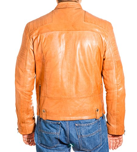 Brando Biker Zip e Side Chaqueta Matelass Classic Cuero Vintage Hombres Collar Marr Ww6nxSx