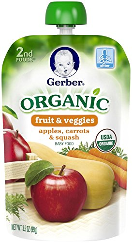 Gerber Organic 2nd Foods Purees - Apple Carrot Squash - 3.5 oz - 6 pk (Stage One Gerber Baby Food compare prices)