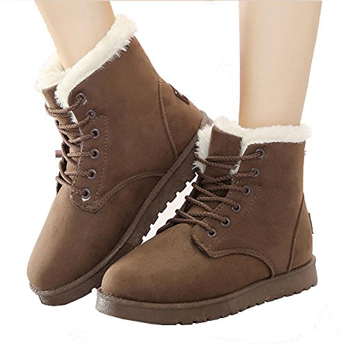 Women Ankle Short Martin Boots Leather Suede Plush Flat Heel Winter Warm Casual Shoelace Snow Cotton Shoes BROWN-39 nBUhNwC