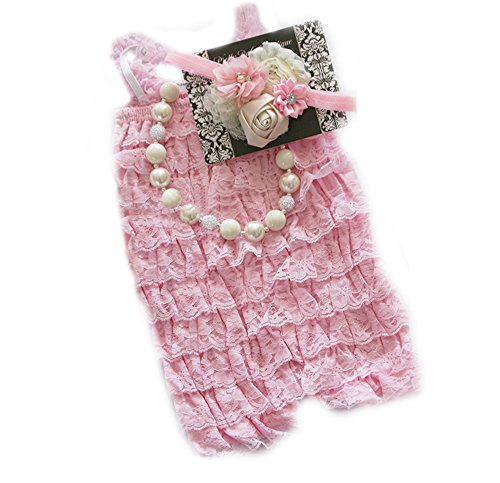 Baby Girl Lace Romper Set- Baby Birthday Outfit by Pretty Baby Bowtique (6-13months, Pink and Ivory/Cream)