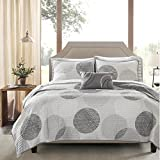 6 Piece Geometric Circular Pattern Coverlet Set Twin Size, Featuring Circle All Over Design Comfortable Bedding, Contemporary Stylish Casual Polka Dot Inspired Bedroom Decoration, Grey, White