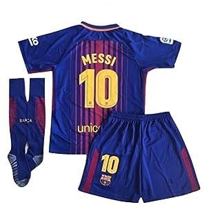 Petersocks 10 Messi Barcelona Home Kids Or Youth Soccer Jersey & Shorts & Socks Set 2017-2018 Season Red/Blue