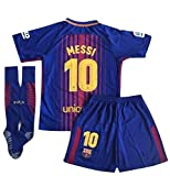 Petersocks 10 Messi Barcelona Home Kids Or Youth Soccer Jersey & Shorts & Socks Set 2017-2018 Season Red/Blue