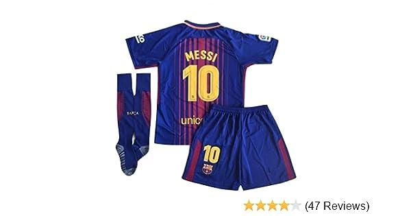 684594389 ... 17  sells Amazon.com 10 Messi Barcelona Home Kids Youth Soccer Jersey  Shorts Socks Set 2017 ...
