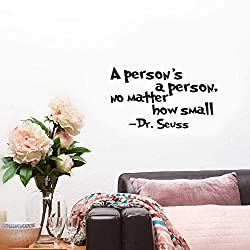 Regiser Vinyl Wall Decals Quotes Sayings Words Art Deco Lettering Inspirational A Person's A Person, No Matter How Small Home Décor for Nursery Kids Room Boys Girls Room