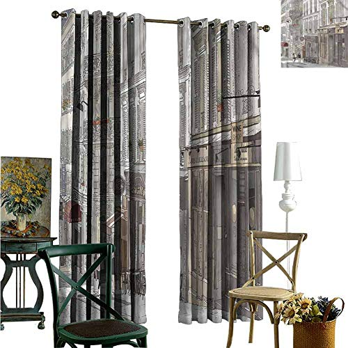 nooweihome Creative Blackout Window Drapes for Teenagers Bedroom Paris,Traveling Tourist Themed City Kitchen Boys Room Decor 84 x L108 inches (Bedroom Themed Paris For Teenagers)