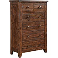 Modus Furniture 9CR184 Cally Solid Wood Chest of Drawers, Antique Mocha