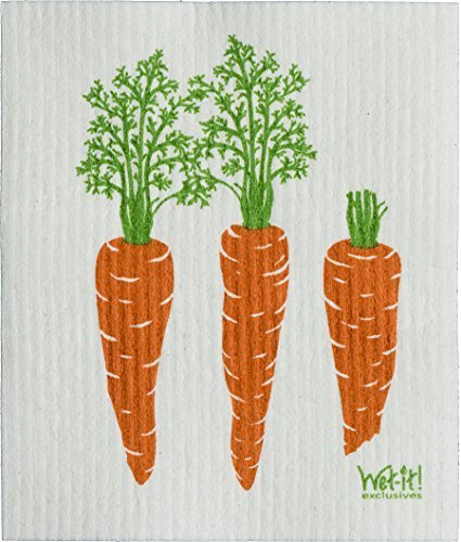 Swedish Treasures Wet-it! Cleaning Cloth, Carrots, Super Absorbent, Reusable, Biodegradable, (Swedish Rag)