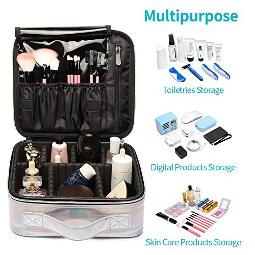 Makeup Case, Packism Holographic Travel Makeup Bag Professional Cosmetic Train Case, Waterproof Cosmetic Bag Portable Makeup Organizer with Adjustable Dividers for Toiletry Make Up Jewelry, Silver