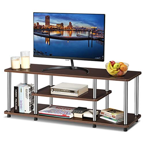 Tangkula 3-Tier TV Stand, LED and Flat Panel TV Entertainment TV Stand with Stainless Steel Frame, EPA Listed Universal TV Stand Suits for LCD, Simple Appearance and Compact Design (Coffee)