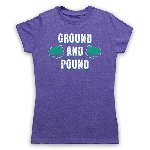 Ground And Pound MMA Fighting Slogan Camiseta para Mujer Morado Clásico