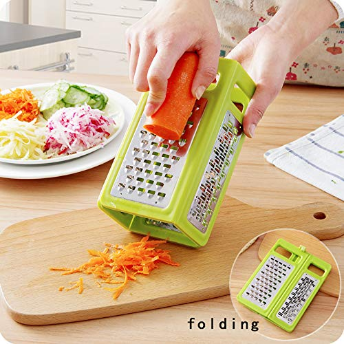 HOMIZE Folding Box Grater 4-Sided Stainless Steel Blades 4 in 1 Flat Graters for Cheese Vegetables Ginger Potatoes Slicer Space Saving, Green Graters & Slicers at amazon