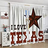 smallbeefly Texas Star Room Darkening Curtains Western Culture Motifs with a Quote about Southwest of United States Blackout Draperies For Bedroom 96''x84'' Dark Brown and Brown