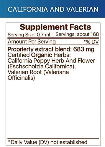 California and Valerian Tincture Alcohol-Free Extract, Organic California Poppy Eschscholzia Californica, Valerian Valeriana Officinalis Relaxation 4 OZ