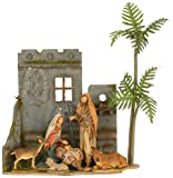 Holy Family and Animals 6 Piece Resin Nativity Scene with 19.25 Inch Creche and Palm Tree