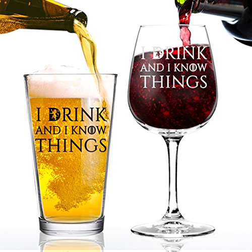 - I Drink And I Know Things Beer and Wine Glass Set- Cool Present Idea for Bridal Shower, Wedding, Engagement, Anniversary and Couples - Him, Her, Mr. Mrs. Mom Dad