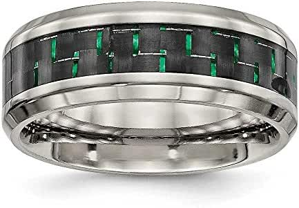 8mm Titanium Polished Black Green Carbon Fiber Inlay Ring - Size 9.5